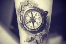 04 a realistic compass with a map piece