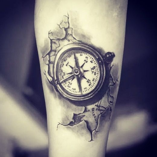 a realistic compass with a map piece