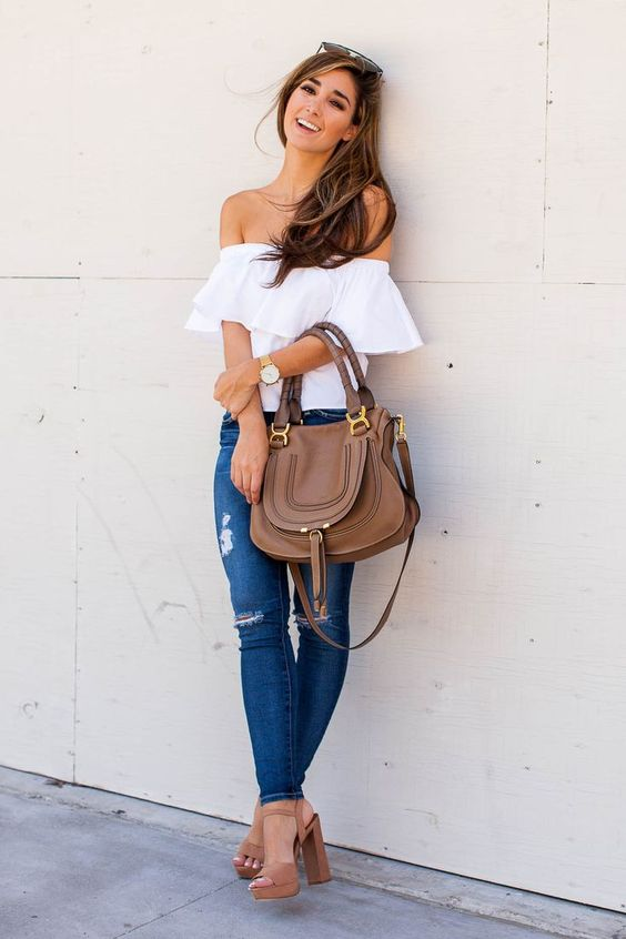 e3336c2baf6 a white off the shoulder ruffled top, ripped jeans, brown heel sandals and a