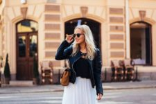 04 a white tulle skirt, a black tee, a black leather jacket and flats
