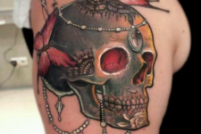 04 colorful beaded skull tattoo with butterflies
