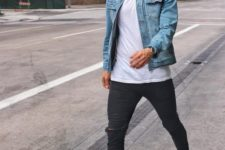 04 ripped black jeans, a white tee, a blue denim jacket and grey chucks