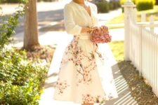 05 a floral midi, a white shirt, blush heels and a rose clutch