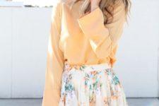 05 a peach long sleeve and a floral pleated mini
