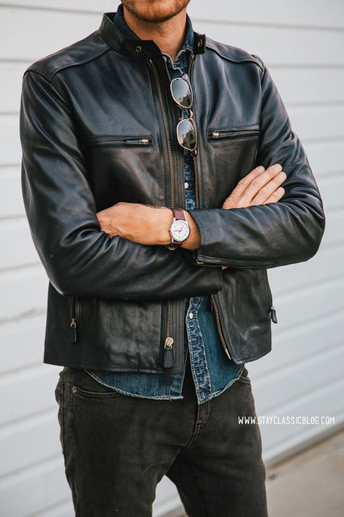 black jeans, a chambray shirt and a black leather jacket
