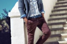 05 burgundy jeans, a light blue shirt and a grey jacket