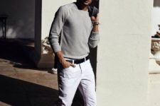 05 white denim, a neutral long sleeve and suede shoes