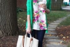 06 a bright floral blouse, a green cardigan, skinnies, bright heels, a statement necklace