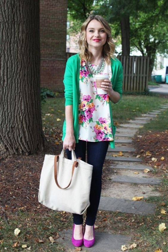a bright floral blouse, a green cardigan, skinnies, bright heels, a statement necklace