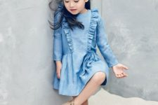 06 a chambray dress with long sleeves and ruffles, vintage perforated boots