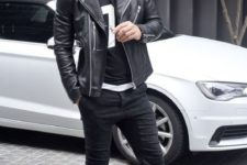06 black jeans, a sporty print tee, a black moto jacket and white chucks