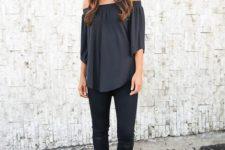 06 black off the shoulder top, half sleeves, black jeans and heeled sandals