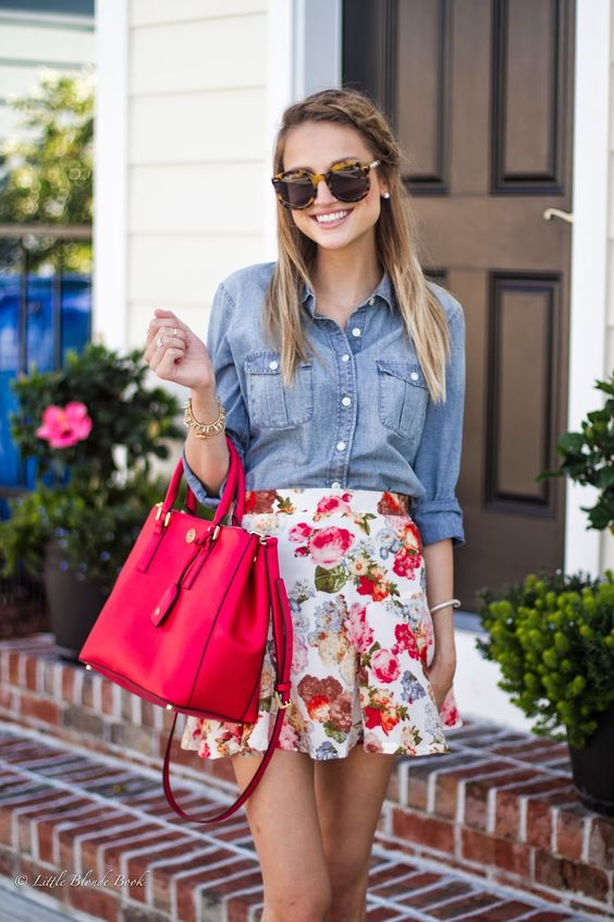 bold floral mini, a chambray shirt and a hot pink tote