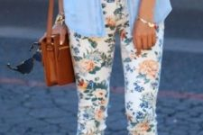 06 floral pants, a white top, a chambray shirt and platform shoes