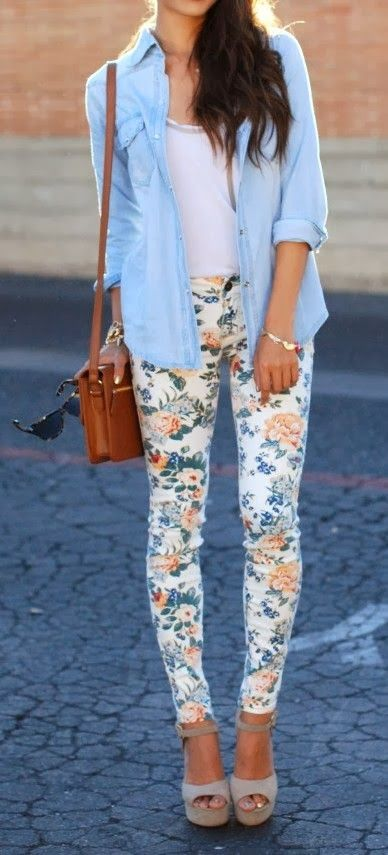 floral pants, a white top, a chambray shirt and platform shoes