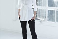 06 tie front maternity blouse, black pants and heels are classics