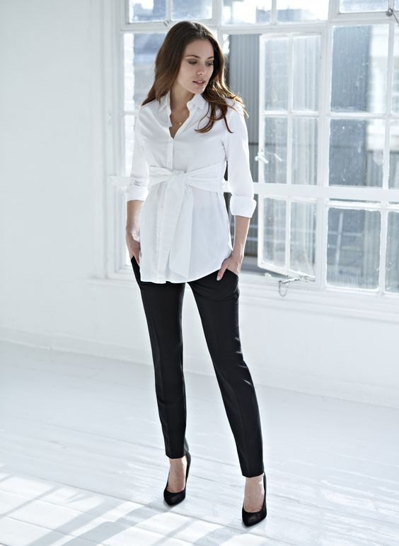 tie front maternity blouse, black pants and heels are classics