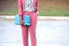 07 a bubble gum pink suit mixed with a floral blouse