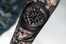 07 half sleeve man tattoo with a rose compass