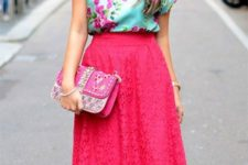 07 hot pink midi skirt, a green floral top and blush studded heels