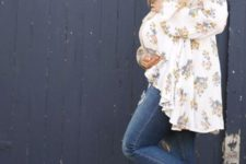 07 ripped skinnies, a floral blouse and brown booties