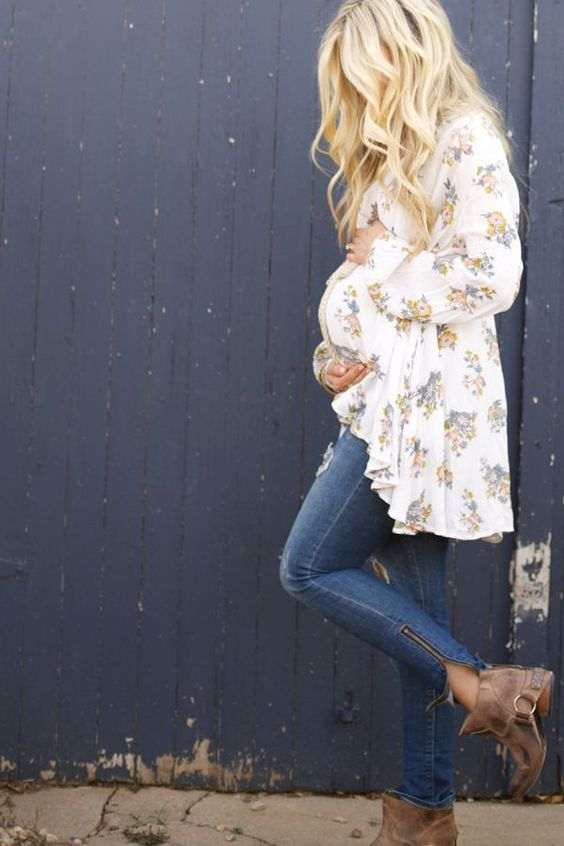 ripped skinnies, a floral blouse and brown booties