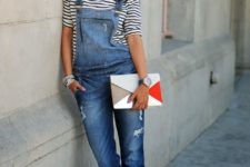 08 a denim overall, a striped top and silver ankle strap shoes