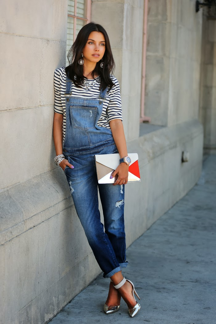 a denim overall, a striped top and silver ankle strap shoes