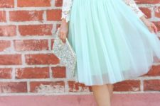 08 a mint knee skirt, a white lace shirt with sleeves and blush heels