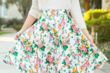 08 a white long sleeve, a bold floral skirt and nude heels