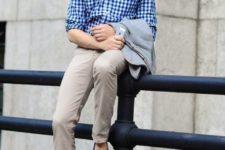 08 bold blue moccasins, grey pants, a blue plaid shirt