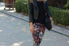 08 floral pants, a black tee, a black leather jacket and nude shoes