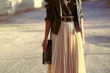 08 ivory pleated midi skirt, booties, a black top and a black leather jacket