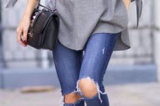 08 ripped blue jeans, a grey off the shoulder tunic and plaid heels