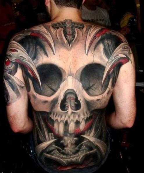 the entire back draped with a giant skull