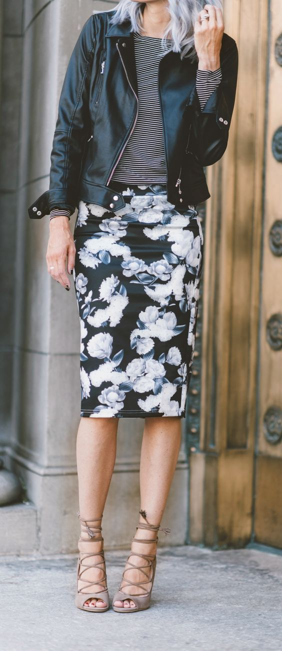 a black floral pencil skirt, a striped long sleeve, a black leather jacket and lace up heels