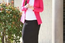 09 a black midi skirt, a white top, a fuchsia jacket and black heels