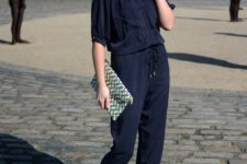 09 a navy jumpsuit and nude ankle strap sandals