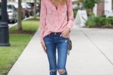 09 a pastel pink floral blouse with distressed denim skinny jeans