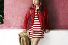 09 a red striped dress, a red denim jacket and red lace up flats