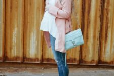 09 a white blouse, a pink long cardigan and skinny jeans
