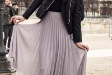 09 lavender pleated midi, a black top and leather jacket, black lace up heels