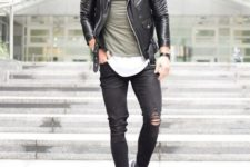 09 ripped black jeans, layered t-shirts, a black moto jacket and chucks