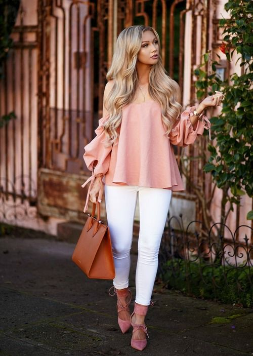 white skinnies, a blush off the shoulder top, pink lace up heels
