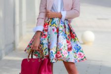 10 a bold A-line skirt, a white shirt, a blush leather jacket and hot pink shoes