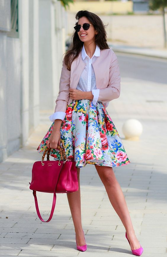 a bold A line skirt, a white shirt, a blush leather jacket and hot pink shoes