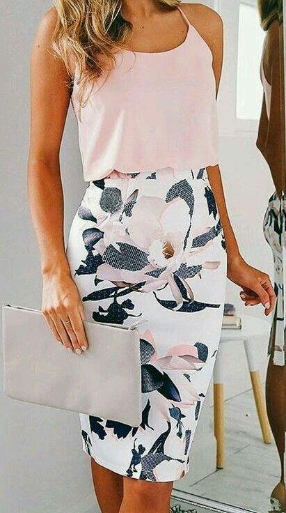 a floral pencil skirt, a blush spaghetti strap top