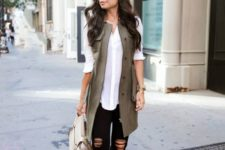 10 a white shirt, black ripped jeans, nude ankle strap heeled sandals and a khaki long vest