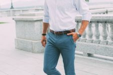 10 grey pants, a light blue shirt and brown leather shoes