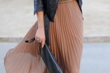 10 ocher pleated midi dress, black suede boots and a black leather jacket